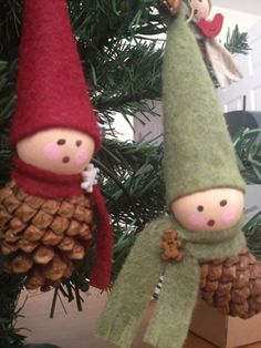 Pine cone elf ornaments