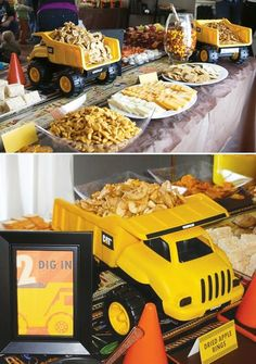 We used pretzel sticks to make it look like sticks in the dump truck. My photo frame had Owen's 2nd year pictures we had done with his dump truck and bull dozer.