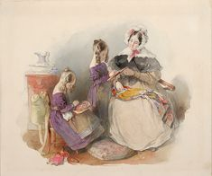 Peter Fendi The Princesses Elise and Fanny Liechtenstein With Their Governess Mlle. Fendi, Dutch Painters, Portraits, Some Image, Romanticism, Impressionism, Needlework, Watercolor, Fine Art