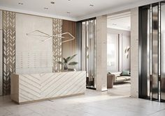 I like the textured wall accent and the modern desk Dental Office Design, Office Interior Design, Office Interiors, Commercial Interior Design, Commercial Interiors, Hotel Lobby Design, Reception Desk Design, Partition Design, Lobby Interior