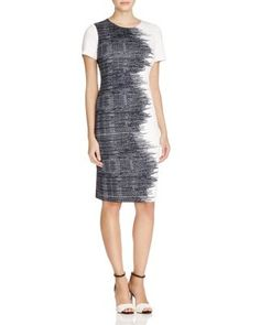 Awesome dress worn by Cecilia Vega 5/28/2016 $58; not available. :( Calvin Klein Abstract Print Sheath Dress - 100% Bloomingdale's Exclusive | Bloomingdale's