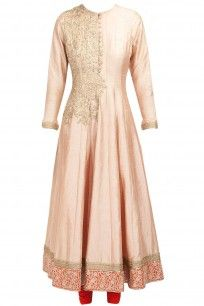 Peach and orange embroidered anarkali