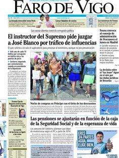 Los Titulares y Portadas de Noticias Destacadas Españolas del 8 de Junio de 2013 del Diario Faro de Vigo ¿Que le parecio esta Portada de este Diario Español?