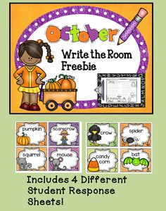 October Write The Room FREEBIE  This October themed Write the Room activity is a fun way to engage your students and gets them up and moving! This freebie includes 8 Write the Room cards with 4 different student response sheets.