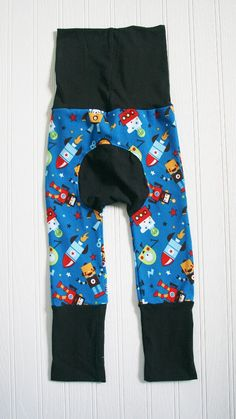 Baby's organic Maxaloones Grow With Me Pants.  Size 6 months to 3 years. Robots, astronauts on royal blue background. Ready to ship. by RosenLilyCreationz on Etsy
