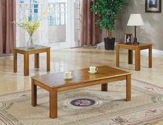 3pc Oak Veneer Wood Parquet Top Coffee 2 End Tables Set Part No. 5168 by Coaster Home Furnishings. $141.68. Some assembly may be required. Please see product details.. 3 Piece Oak Veneer Wood Parquet Top Coffee 2 End Tables Part No. 5168