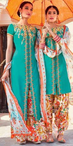 Teriffic Blue And Multi-Color Cotton Salwar Suit With Dupatta.