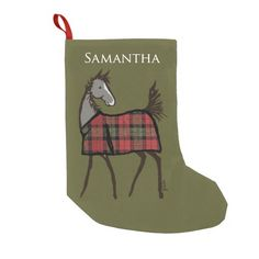Horse Foal with Plaid blanket Christmas Stocking - from The Painting Pony - customized or personalized with your own name at no extra cost! So cute for the horse lover equestrian during the holidays.
