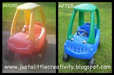 All you need to transform (and make money from) that Cozy Coupe is some creativy and Krylon Fusion paint. DIY tutorial here - step by step. :)