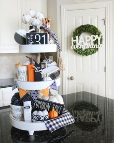 Happy first day of October! What better way to start October than with a Halloween craft and tiered tray styling? 🤣 I loved adding the… Modern Fall Decor, Fall Home Decor, Autumn Home, Cake Stand Decor, Tray Decor, Shabby Chic Fall, Tray Styling, Halloween Crafts, Halloween 2019