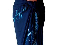 PLUS SIZE Navy and Teal Dragonfly Beach Sarong Batik Pareo Beach Wrap Long Wrap Skirt or Dress Womens Clothes Sarong Wrap Coverup Extra Long
