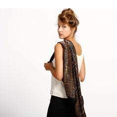 Hand printed designer silk scarf Golden Brown by DiklaLevskyDesign, $123.00