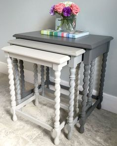 A fun side table gets a makeover with Country Chic All in One paint and Country Chic Metallic Accent Redo Furniture, Painted Bedroom Furniture, Painting Furniture Diy, Nesting Tables, Painted Furniture, Diy Furniture, Furniture, Repurposed Furniture, Nesting Tables Decor