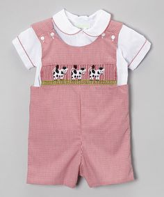 Loving this Red Gingham Cow John Johns & Collar Top - Infant & Toddler on #zulily! #zulilyfinds