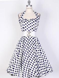 50s BigNavyBlueDot/White Polka Dot Swing Satin Dress-UK Free Shi [SPOLK-HAL-BigNavyBlu_Whit] - £34.99 : Queen of Holloway, Dressing Shop
