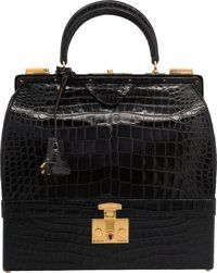 Hermes Shiny Black Crocodile Sac Mallette Bag with Gold Hardware Circa 1960's Very Good to Excellent Condition