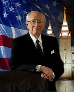 President Gordon B. Hinckley I really love the addition of the American flag. He didn't speak to only Americans, but he was one.