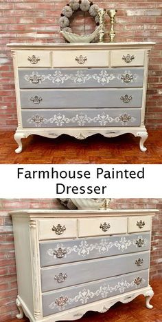 white gray painted dresser - farmhouse decor #paintedfurniture