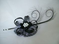 Black & White Lace Covered Monochrome Isadora Fascinator Mini Hat Curl Feathers and Pearls - Made To Order by IndigoDaisyWeddings on Etsy