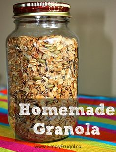 Sprinkling some homemade granola over yogurt and eating it, is one of my favourite ways to start my day! I love having it on hand all the time for easy snacking too! Here's my recipe for the yummy homemade granola I've been enjoying lately! Print...