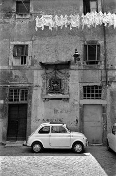 Fiat 500 Vintage, Vintage Italy, Vintage Cars, Foto Picture, Photo D Art, Rome Photography, Street Photography, Fiat Cinquecento, Black And White Aesthetic