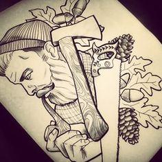 wood axe tattoo - Google Search