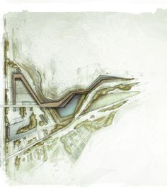 Old quarry site revisited - Anastasia Gkoliomyti & Stamatina Kostiani. Landscape architecture drawing - pencil and digital watercolor. Located in the city of Elefsina, Greece, this part of the proposal (eastern half of it shown here) consists of a ramp that follows the natural relief of the hill (remainder of the quarry activity) and reaches the height of 10 meters. More information on spectrumanthem.co.vu