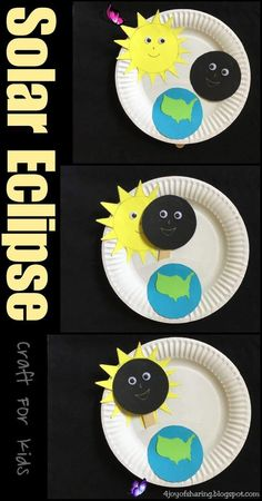 Solar Eclipse Craft Solar Eclipse Craft for Kids #stem #steam #science #kidscraft #craftsforkids<br> Fun and easy paper plate interactive craft to teach kids about the phenomenon of a solar eclipse. Kids Crafts, Space Crafts For Kids, Paper Plate Crafts For Kids, Craft Projects For Kids, Toddler Crafts, Preschool Crafts, Easy Crafts, Art For Kids, Preschool Kindergarten
