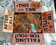 ), but love the idea of including some leaves. Surprise For Girlfriend, Girlfriend Surprises, Cute Gifts, Diy Gifts, Message To My Son, Fall Care Package, Still Falling For You, Deployment Care Packages, Military Love