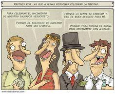 """Esta tira navideña de Alberto Montt, de Santiago, Chile presenta las """"razones por las que algunas personas celebran la Navidad""""."""