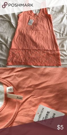 New with Tag. Frenchi tank- peach Never worn. Tank with lace bottom panel. Great for layering or to wear alone! Frenchi Tops Tank Tops