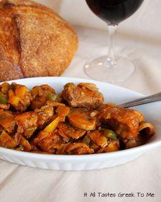 It All Tastes Greek To Me: Braised Pork with Leeks and Mushrooms