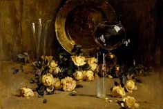 """""""Still Life with Yellow Roses,"""" Emil Carlsen, ca. 1885, oil on canvas, 27 1/8 × 40 1/2"""", The Museum of Fine Arts, Houston."""