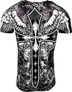 Konflic Men's NWT Cross With Wings Graphic Designer MMA Muscle T-Shirt XL Black