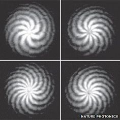 """Researchers have found that twisted light can carry 2.5 terabits of data (more than 66 DVDs) per second. This can """"vastly boost the data-carrying capacity in wi-fi and optical fibres."""" Cool!"""
