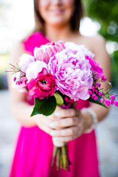 Hot Pink Bridesmaids Bouquet | photography by http://acquaphoto.com