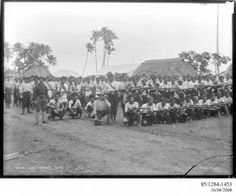 85/1284-1453 Photographic negative, Lieutenant Gaunt, sailors and some of Malietoa's supporters, gelatin / glass, photographer unknown, published by Kerry and Co., Upolu, Samoa, 1899 - Powerhouse Museum Collection