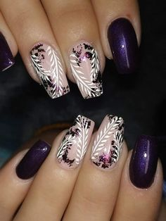 Inspiring spring nail art design with pink and purple flowers