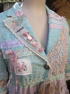 Vintage Kitty romance... stretch brocade, turquoise.. embroidery, lace, roses, crochet, ooak, shabby chic, Med - Large. $487.00, via Etsy.