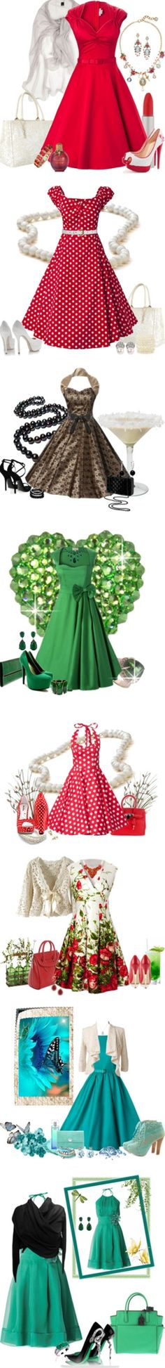 50s inspired outfits! Vestidos Rodados I by sil-engler on Polyvore - Click image to find more Womens Fashion Pinterest pins