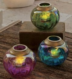 Pearlized Glass Tealight Holders, Set of 3