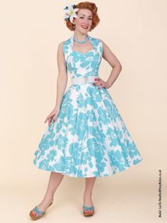 1950s Halterneck Turquoise Floral from Vivien of Holloway