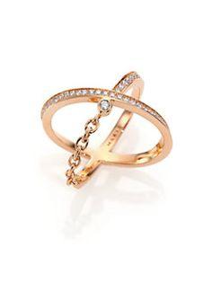 Marli - Ransom Diamond & 18K Rose Gold Crisscross Ring
