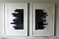 DIY abstract art - Burlap and Lace-could also do on a black canvas with white paint