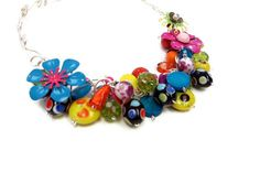 Isn't this awesome??  Made by a friend!  Colorful Statement Necklace Crazy Bright Multi by elbowsdesigns, $52.00