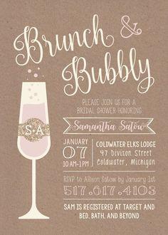 Brunch & Bubbly Printable Bridal Shower Invitation. Etsy $15.