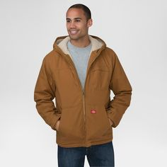 Dickies Men's Duck Sherpa Lined Hooded Jacket Big & Tall Brown Duck Xxxl Tall