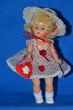 "Vintage 8"" Hard Plastic Walker Doll  Tagged Dress Be My Valentine"