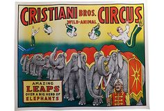 Vintage Cristiani circus lithograph poster from the late The Cristiani circus acrobats were featured in short film clips before feature films. Circus Poster, Poster On, Circus Room, Circus Circus, Herd Of Elephants, Lets Run Away, Graphic Illustration, Illustrations, Vintage Circus