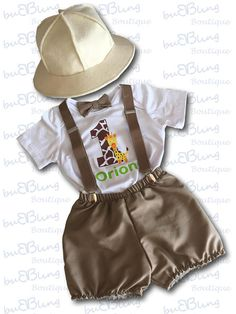 Personalised Safari Theme with Felt Hat Baby Boy Birthday Outfit.Baby photo shoot outfit by BuBBlingBoutique on Etsy for boys Safari Jungle Explorer Theme Cake Smash Outfit Boy Safari Party, Safari Jungle, Safari Theme Birthday, Jungle Theme Parties, Baby Boy 1st Birthday, 1st Birthday Outfits, Boy Birthday Parties, Cake Birthday, Jungle Party